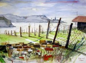 Hermi Kürner, Aquarell, Blick auf Piran