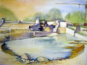 Hermi Kürner, Aquarell Kraftwerksbaustelle