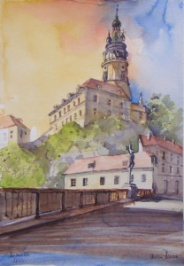 Hermi Kürner, Aquarell, Burg Krumau