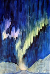 Hermi Kürner, Aquarell, Nordlicht