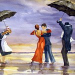 Hermi Kürner, Aquarell, Tanz am Strand