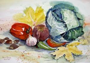 Hermi Kürner, Aquarel buntes Gemüse