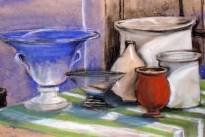 Hermi Kürner, Pastellkreide Vasen und Töpfe
