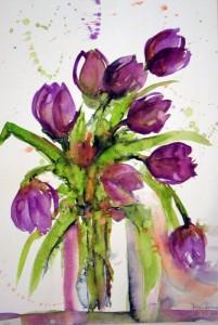 Hermi Kürner, Aquarell, Tulpen