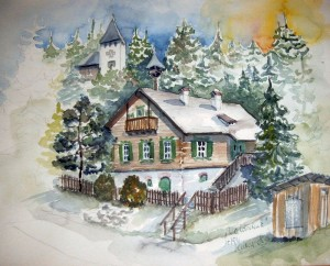 Hermi Kürner, Aquarell, Waldschule in Alpl