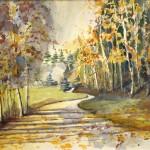 Hermi Kürner, Aquarell,Herbst am Toplitzsee