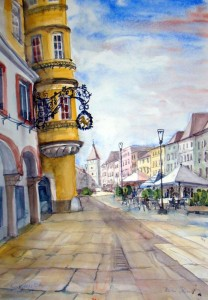 Hermi Kürner, Aquarell, Stadtplatz Wels