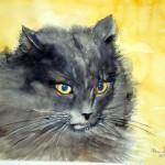 Schwarze Katze Aquarell